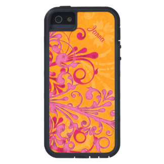 Bold Hot Pink Orange Elegant Floral iPhone 5 Tough iPhone 5 Cover