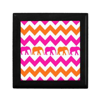 Bold Hot Pink Orange Elephants Chevron Stripes Gift Box
