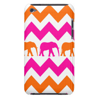 Bold Hot Pink Orange Elephants Chevron Stripes iPod Touch Cases