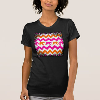 Bold Hot Pink Orange Elephants Chevron Stripes T-Shirt