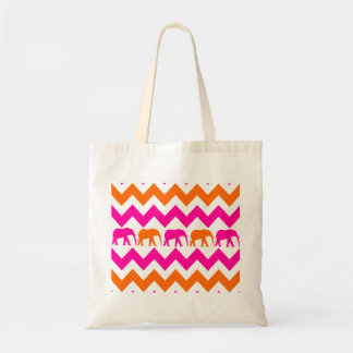 Bold Hot Pink Orange Elephants Chevron Stripes Tote Bag