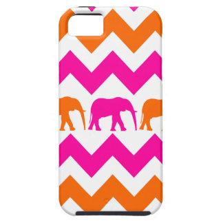 Bold Hot Pink Orange Elephants Chevron Stripes Tough iPhone 5 Case