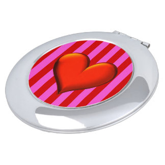 Bold Hot Pink, Red Stripes, Red Metallic Heart Mirrors For Makeup