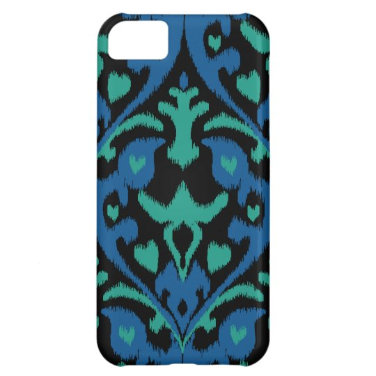 Bold ikat pattern in blue green and black iPhone 5C case
