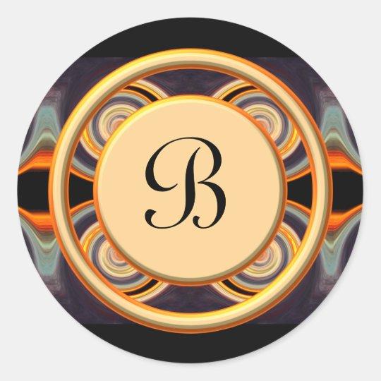 Bold Initial Monogrammed Art Round Sticker
