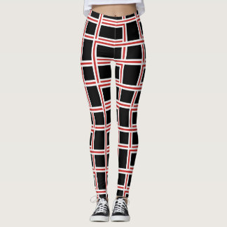 Bold Interlocking Red and White Rectangle Pattern Leggings