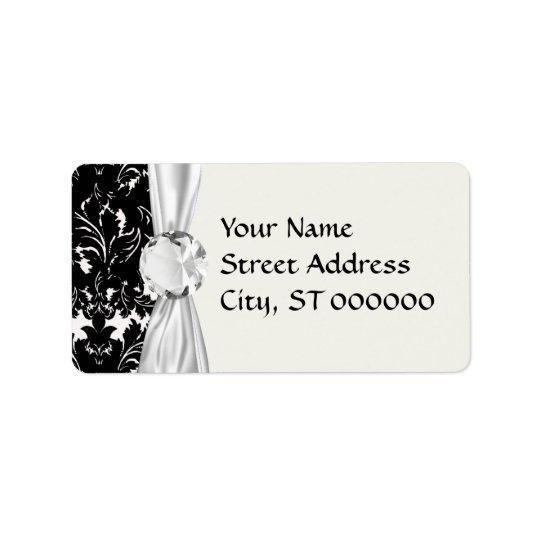 bold intricate black damask on white address label