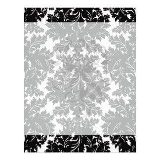 bold intricate black damask on white full color flyer