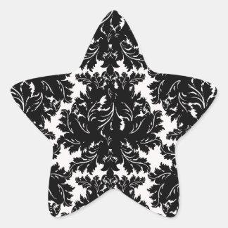 bold intricate black damask on white star sticker