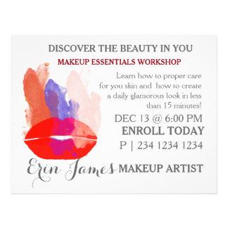 Bold Lady Lips  Watercolor Makeup Workshop Flyer