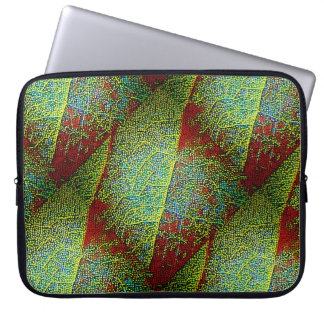 Bold leaf closeup in tiny mosaic tiles laptop sleeve