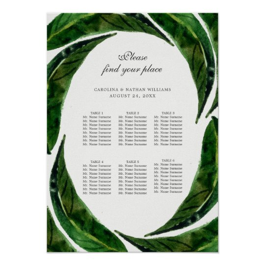 "Bold Leaves Seating Chart Poster | 15"" x"