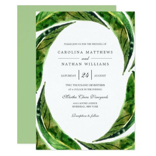 Bold Leaves Wedding Invitation   Light
