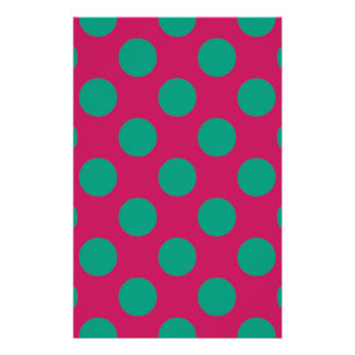 Bold Magenta and Green Polkadots Stationery