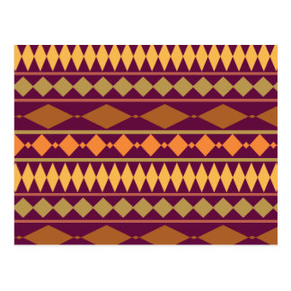 Bold Magenta Rust Tribal Geometric Pattern Postcard