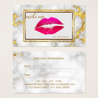 Bold MakeUp Artist Crimson Lips Marble Beauty Business Card