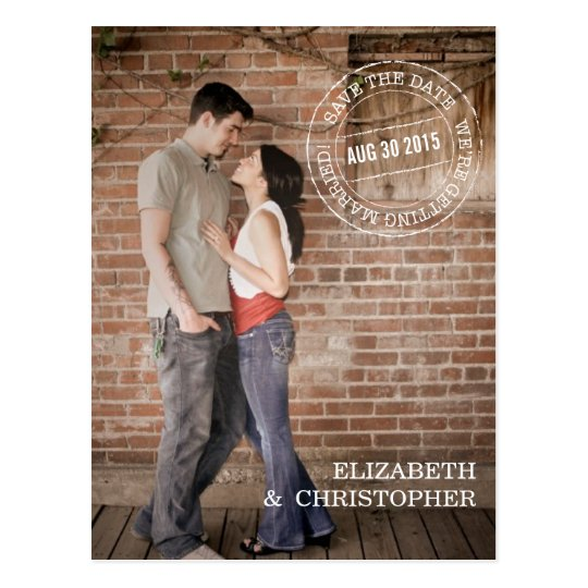Bold Mod Vertical Photo Save the Date Postcard