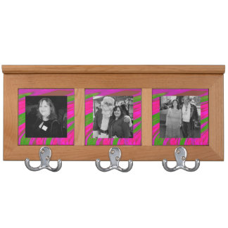Bold Modern Abstract Photo Bright Pink Green Coat Rack