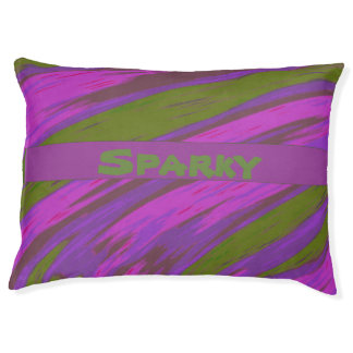 Bold Modern Abstract Purple Pink Green Pet Bed