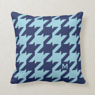 Bold modern blue houndstooth with monogram pillow
