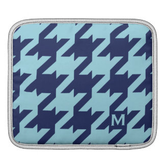 Bold modern blue houndstooth with monogram iPad sleeves