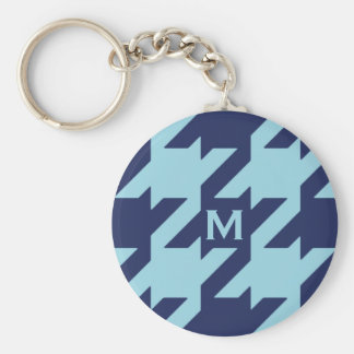 Bold modern blue houndstooth with monogram key chain