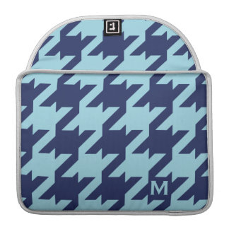 Bold modern blue houndstooth with monogram MacBook pro sleeve
