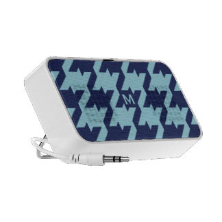 Bold modern blue houndstooth with monogram iPod speaker