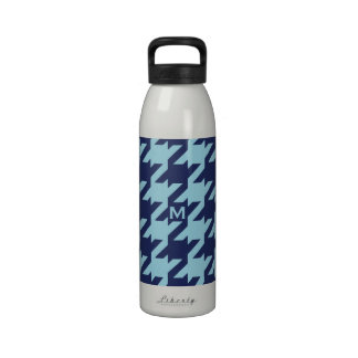 Bold modern blue houndstooth with monogram water bottles