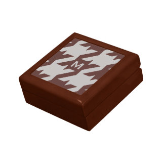Bold modern brown houndstooth with monogram jewelry box