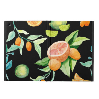 Bold Modern Citrus Watercolor Oranges Kumquat Lime Cover For iPad Air