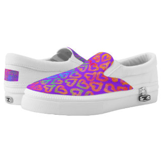 Bold Modern Colorful Hearts Pattern on Purple Printed Shoes