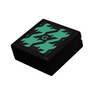 Bold modern emerald houndstooth with monogram trinket box