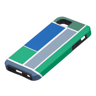 Bold Modern Geometric Pattern in Blue and Green iPhone 5 Cover