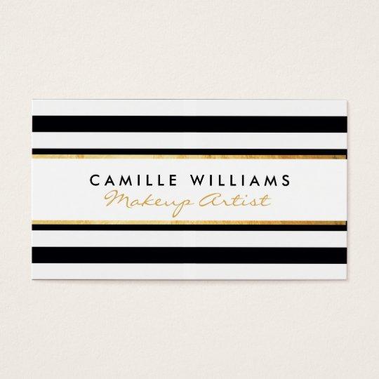 BOLD modern gold strip stripe pattern black white Business Card