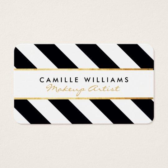 BOLD modern gold strip stripe pattern black white