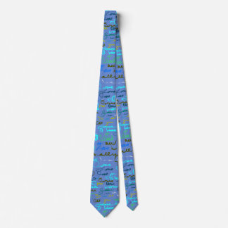 Bold Modern Graffiti Love Pattern on Blue Grey Tie
