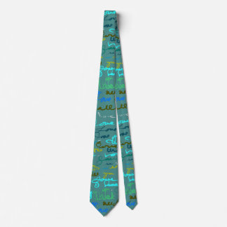 Bold Modern Graffiti Love Pattern on Teal Tie