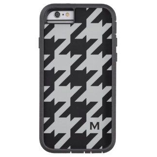 Bold modern grey black houndstooth with monogram iPhone 6 case