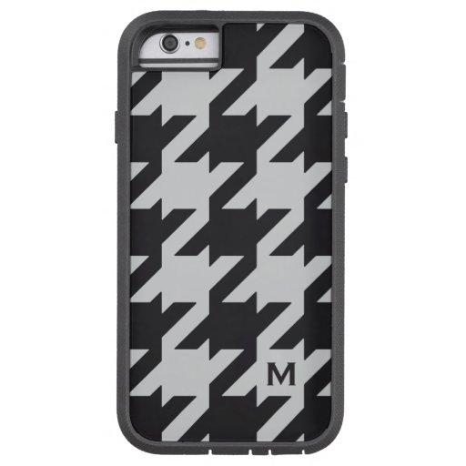 Bold modern grey black houndstooth with monogram iPhone 6 case