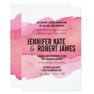 Bold MODERN Minimal Pink watercolor BLACK WEDDING Card