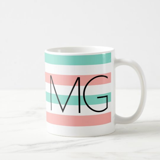 Bold Modern Monogram Stripes Pattern Coffee Mug