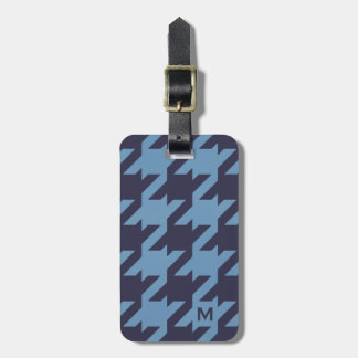 Bold modern navy blue houndstooth with monogram luggage tag