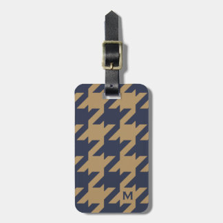 Bold modern navy brown houndstooth with monogram luggage tag