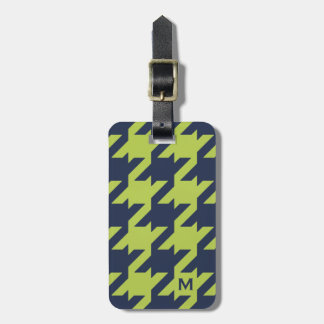 Bold modern navy green houndstooth with monogram luggage tag