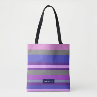 Bold Modern Pink Violet Blue Stripes Personalized Tote Bag
