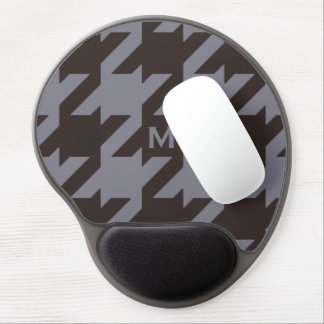 Bold modern steel grey houndstooth monogram gel mouse pad