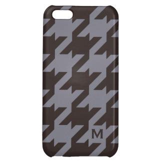 Bold modern steel grey houndstooth monogram iPhone 5C case