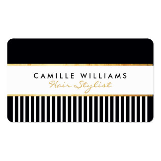 BOLD modern stylish comb design gold black white Pack Of Standard Business Cards