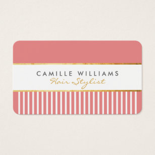 Comb business cards business card printing zazzle uk bold modern stylish comb design gold coral pink business card colourmoves